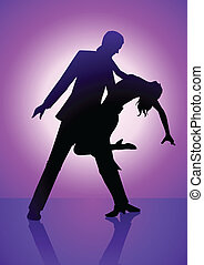 Dancing Purple - Silhouette illustration of a couple dancing...