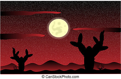 Mexico desert night with cactus plants - vector illustration