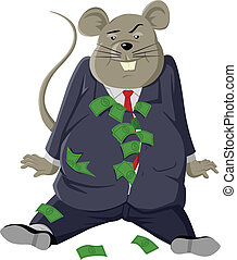 Fat Rat - Cartoon illustration of a fat rat with lots of...
