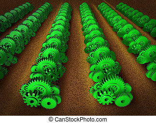 Economic growth represented by machine gears and cogs in the...