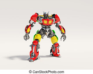 robot - transformer toy on isolated background