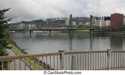 Portland Oregon Downtown Cityscape with Hawthorne Bridge...