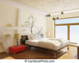 bedroom - modern interior bedroom with black bed and white...