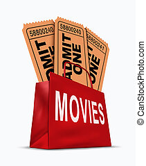 Movie business box office sales represented by a shopping...
