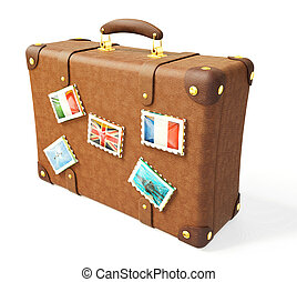 suitcase - brown suitcase isolated on a white background