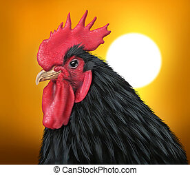 Sunrise with a rooster representing early morning and...