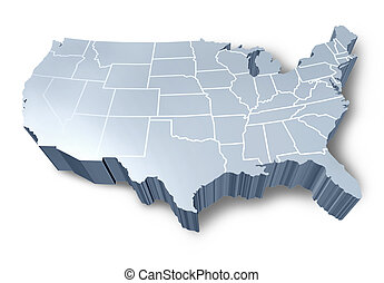 U.S.A 3D map isolated symbol represented by a white and grey...