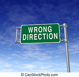 wrong direction sign - Wrong direction green traffic sign...