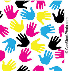 Vector seamless pattern with colored hand prints