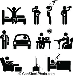 Man Daily Routine People Icon Sign - A set of pictogram...