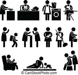 femme, épouse, mère, Quotidiennement, routine