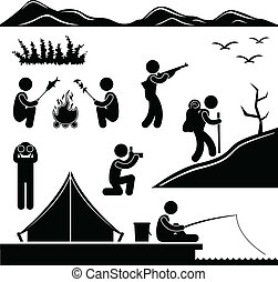 Jungle Trekking Hiking Camping Camp - A set of pictogram...