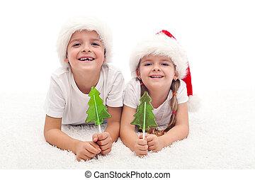 niños, navidad, dulce, tiempo