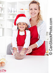 Famili moments - preparing the christmas cookie dough