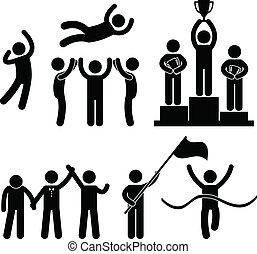 Ganhe, vencedor, perdedor, vitória, sucesso