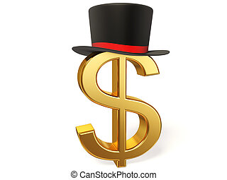 dollar sign and top hat isolated