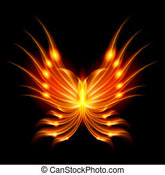 Flying butterfly with fiery wings. Abstract Illustration on...
