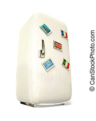 fridge - white fridge vith a colorful travel stickers.
