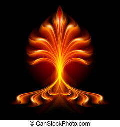 Fire flower. Illustration isolated over black background
