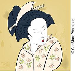 Geisha on vintage background