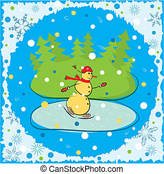 Christmas background. Winter card with snowman. Vector illustration