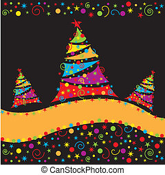 Christmas background. Winter card with Christmas tree. Vector illustration
