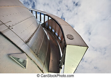 astronomical observatory open door outdoor grey dome cloudly...