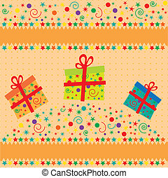 Christmas background. Winter card with Christmas box. Vector illustration