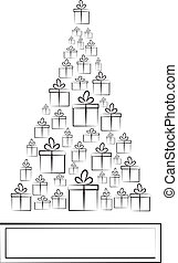 Christmas background. Winter card with boxes in form of Christmas tree. Vector illustration