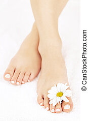 Female feet with pedicure - Soft female feet with pedicure...