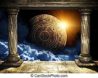 Maya prophecy - Frame with two old columns and Maya calendar...