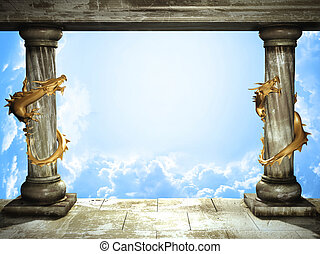 Sky and dragons - Frame with two medieval columns, golden...