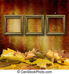 The fallen leaves on the background wall with vintage...