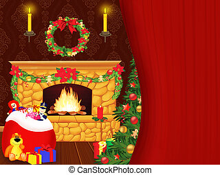 Fireplace on Christmas - Christmas illustration