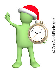 Time before Christmas. Puppet with clock - isolated over...