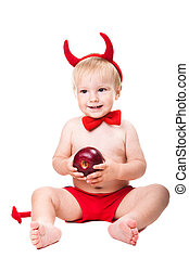 kid in red suit of tempting devil