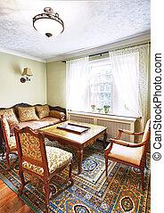 Interior with antique furniture - Antique furniture in...