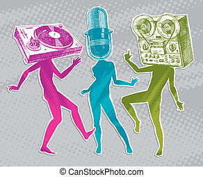 Silhouettes of people with drawing musical equipment instead of heads - vector illustration