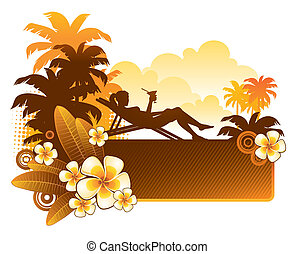 Vector illustration - silhouette of a girl on a tropical landscape with flowers of frangipani