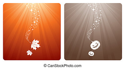 Leaves and pumpkins - Vector autumn design