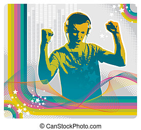 Young man listens to music on headphones - vector illustration