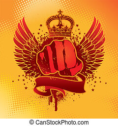 Heraldic grunge vector winged emblem with fist