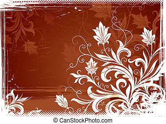 Floral grunge-vintage illustration