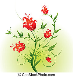 Vector ornate floral branch