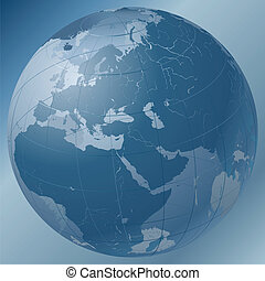 World Globe Blue - Transparent Dark Blue Globe. European...