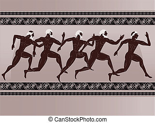 Ancient Greek figure - sportsmen runners in a vector