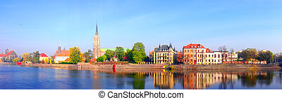 View on Ostrow Tumski in Wroclaw, Poland - Panoramic view on...