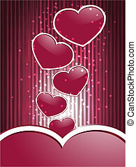 vector red hearts on  abstract  background with stripes
