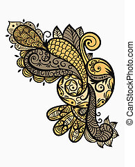 vector paisley design element in warm colors