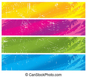 Four colour halftone vector banners